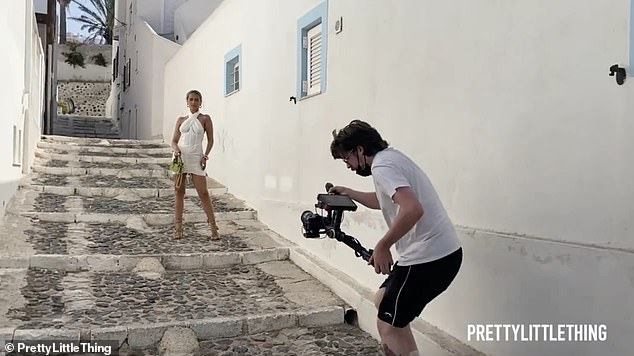 Rustic: Moll-Mae and the team took to the backstreets of the stunning Greek island to shoot the new advertisements for her latest collection with the brand