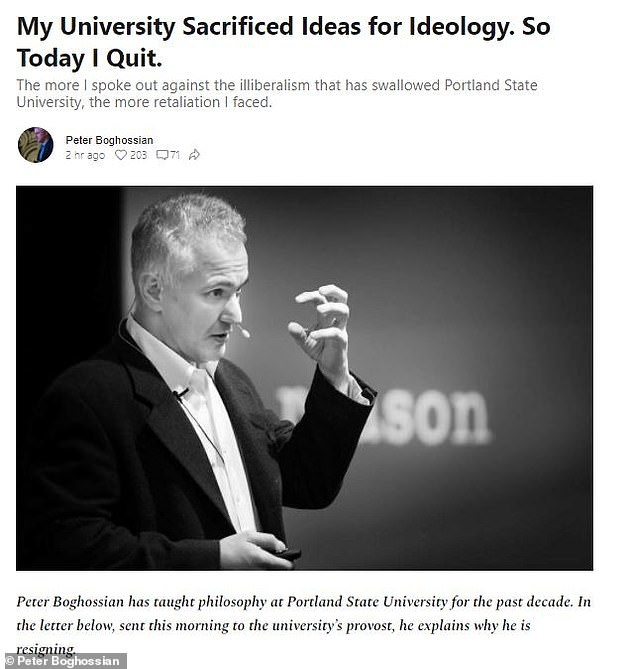 Peter Boghossian has taught philosophy at Portland State University for the past decade. In the letter below, sent this morning to the university's provost, he explains why he is resigning