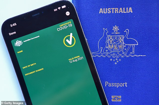 Anyone working in newly opened industries will have to be fully-vaccinated and the one person per four sq/m rule will likely apply. Proof of vaccination will be available on the Service NSW app (pictured, a mocked-up image of a vaccine passport)