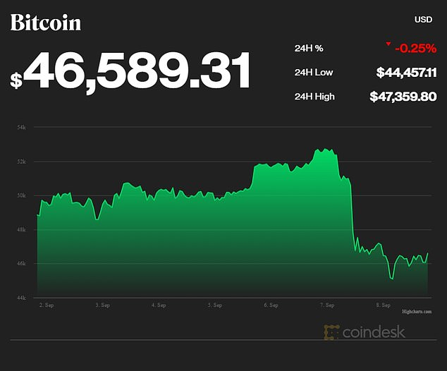 Bitcoin was trading at around $46,590 Wednesday evening after plunging a day earlier