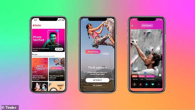 Tinder is a Los Angeles-based app that launched back in 2012. Its new Explore feature lets users find romantic partners based on interests. Pictured is screenshots from the Explore tab, which also houses other already existing features, including Swipe Night and Photo Verified Profiles