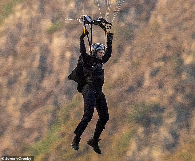 Going down!The actor proved that no stunt is too big as he completed the same jump four times to ensure director Christopher McQuarrie landed the perfect shot