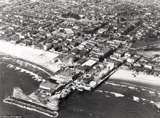 VENICE PIER: This photograph was taken in 1925. It shows the 1200-foot-long Kinney Pier, which was once the main attraction in the resort town of Venice. According to the book, the pier's namesake, Abbot Kinney, bought the two miles of oceanfront real estate, dug canals and drained the marshes to build on the land. 'Kinney ruled his town with an iron fist until his death in 1920,' says Rosemary