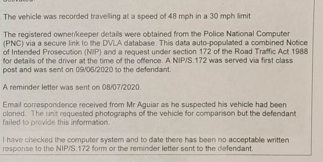 Police have now warned the device has been activating in error, meaning hundreds of drivers may have faced punishment unnecessarily. Pictured: A Hampshire Police speeding fine sent to Bruno Aguiar