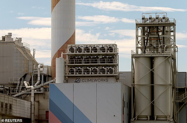 A facility for capturing CO2 from air of Swiss Climeworks AG is placed on the roof of a waste incinerating plant in Hinwil, Switzerland July 18, 2017