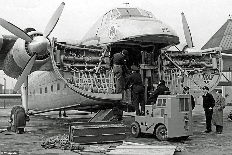Above: A Bristol Freighter operated by Aer Lingus being loaded through the clamshell nose doors in 1952