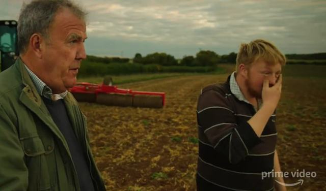 An exasperated Kaleb Cooper, 21, has to deal with one of Mr Clarkson's farming blunders on the show