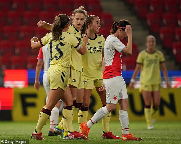 Star striker Vivianne Miedema (centre) scored a second-half hat-trick to help Arsenal win 4-0