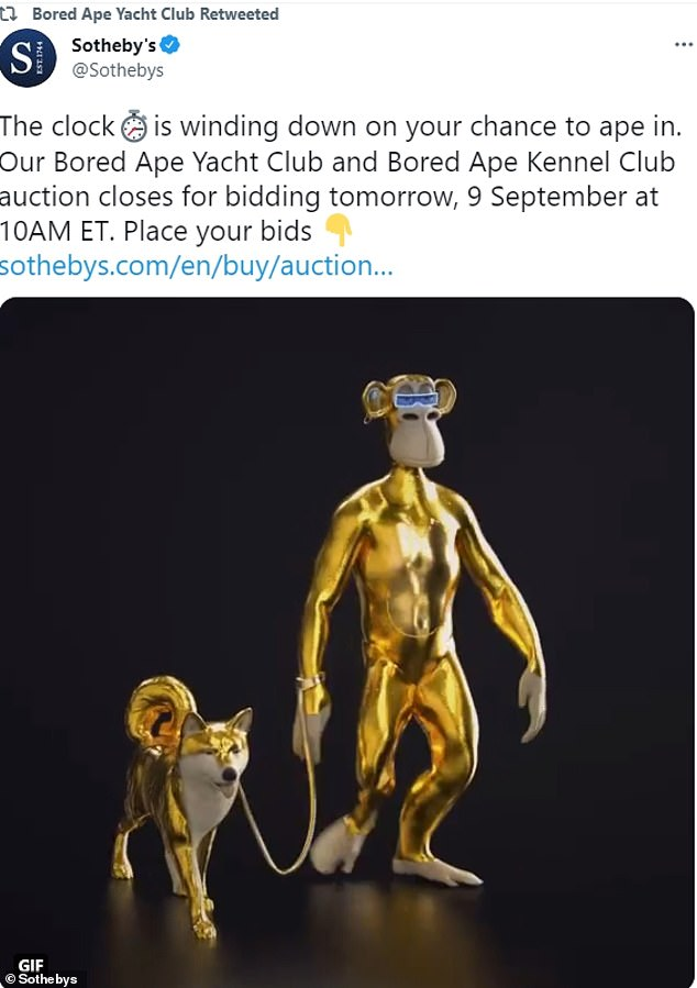 Sothebys auctioned NFTs for Bored Ape Yacht Club and Bored ape Kennel Club (pictured) by Yuba Labs