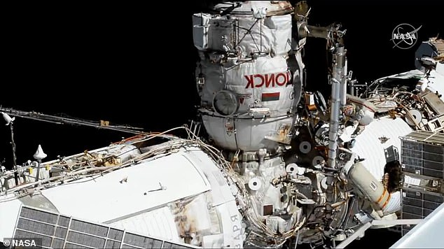 Novitsky and Dubrov carried out the five-hour long mission to integrate Nauka (pictured) with the ISS by connecting power and ethernet cables, among other tasks. Nauka experienced its own issues when it first docked with the ISS - the 22-ton module's jet thrusters misfired hours after docking with the space station