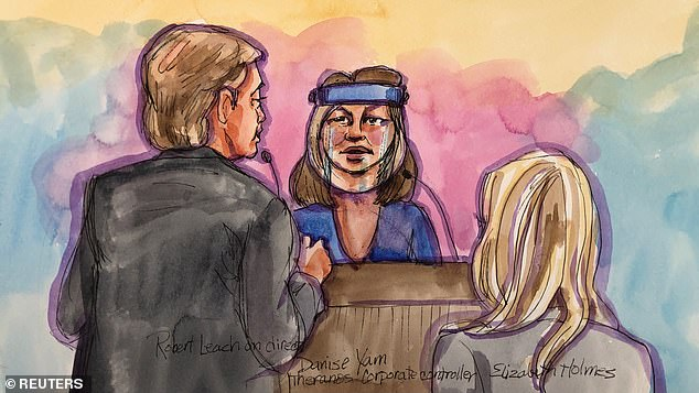 A witness testifies during the trial of Theranos founder Elizabeth Holmes at Robert F. Peckham U.S. Courthouse in San Jose, California last Wednesday