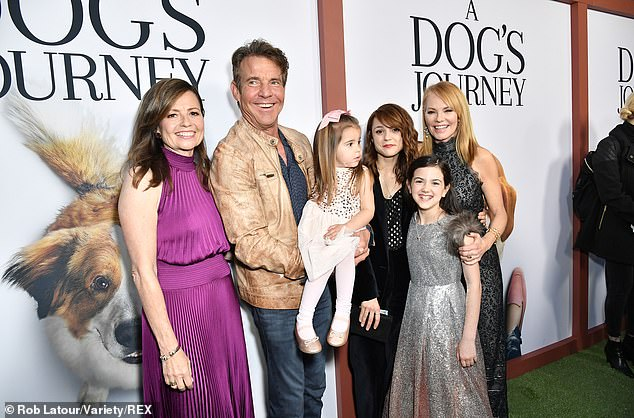 Kathryn is pictured with fellow cast members at the premiere for A Dog's Journey in May 2019