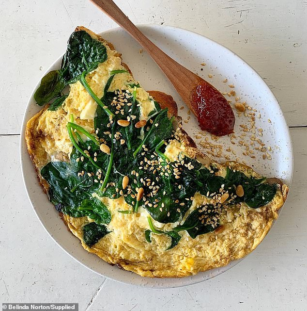 Secondly, the teacher said even though it can be tempting to eat unhealthily sometimes, she makes sure she only eats mineral and nutrient-loaded food (one of Belinda's meals pictured)