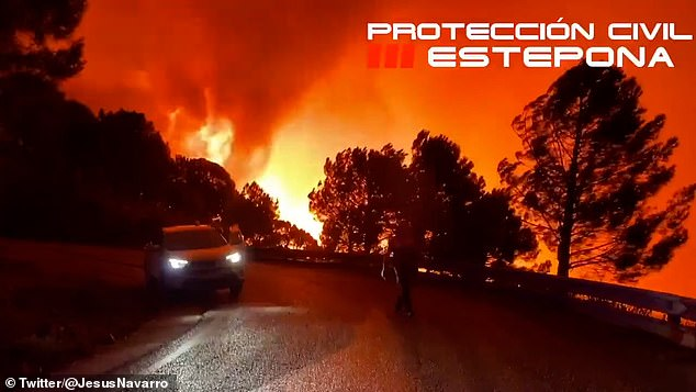 A devastating wildfire affecting mountains behind the popular Costa del Sol resort of Estepona has killed a firefighter and forced 1,000 people to evacuate their homes