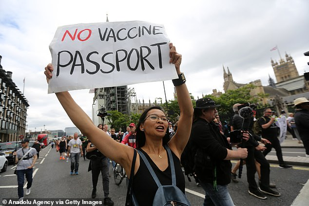 Protesters marching against vaccine passports in Westminster last month