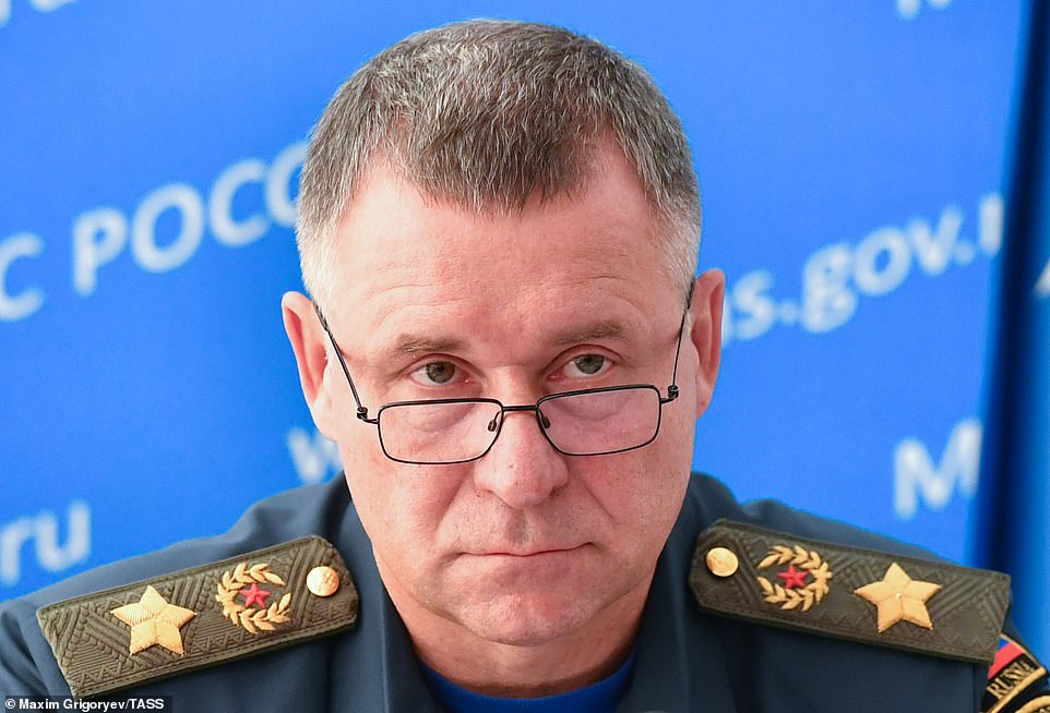 Putin has spoken of his 'irreplaceable personal loss' in losing Zinichev (pictured) - a former FSB deputy director - who he called a man of 'incredible inner strength, courage and bravery'