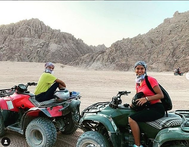 Like Emma, Leylah enjoys a jetset lifestyle. She is pictured quad-biking in Egypt with a friend