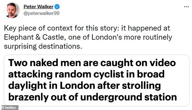 Other people on Twitter explained they had also witnessed the naked men wandering in the street - with one person claiming the pair had been arrested