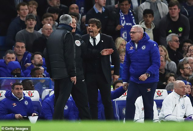 Mourinho had several run-ins with Chelsea's Antonio Conte (c), who called him a 'little man'