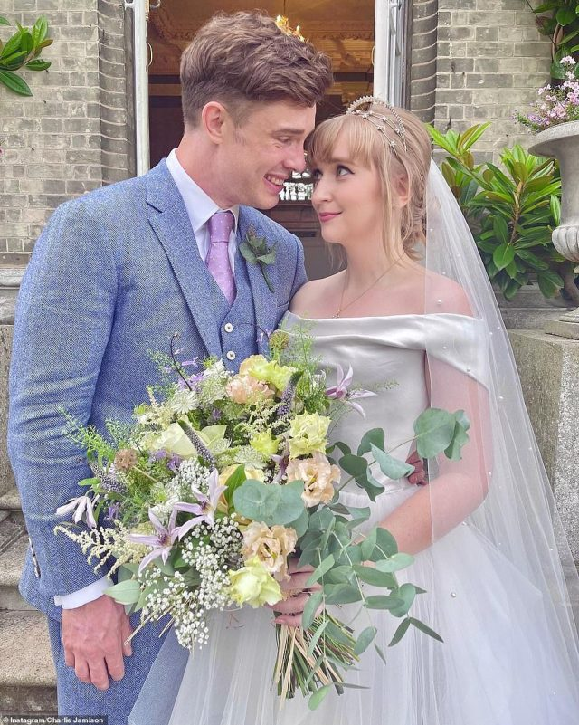 Congratulations: Ed Gamble, 35, and fiancée Charlie Jamison finally tied the knot on Thursday after being forced to postpone their big day repeatedly due to the pandemic