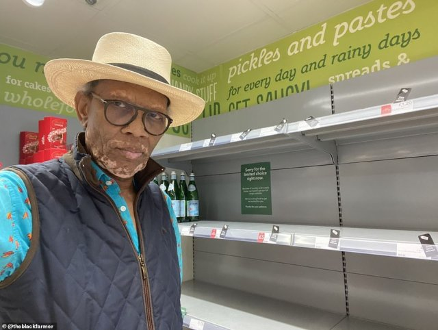 Wilfred Emmanuel-Jones MBE, who runs the popular Black Farmer food range of farm-sourced products, was among those encountering empty shelves, including yesterday at a Co-Op in Battersea, south-west London