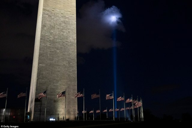 The Tunnel to Towers Foundation Towers of Light tribute will remain lit until the early hours of Sunday, Sept. 12