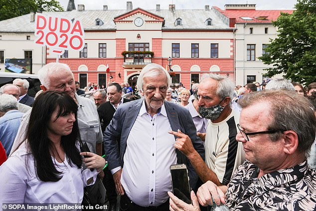 Speaking during a discussion at an economic forum in Poland, Ryszard Terlecki (pictured in 2020, file photo) said that the party wants to remain in the EU and have a cooperative relationship with the bloc but that the EU 'should be acceptable to us'