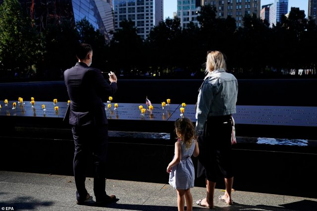 Members of the public pay their respects at the 9/11 Memorial in New York on Sept. 10, 2021