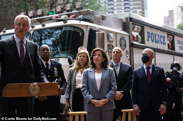 U.S Department of Homeland Security Secretary Alejandro Mayorkas, Governor Kathy Hochul, Mayor Bill de Blasio, and Police Commissioner Dermot Shea briefs the Press on 9/11 preparations from the Command Center at 1 Police Plaza on September 10 2021