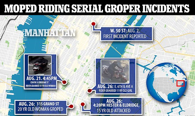 Above is a map illustrating the attacks that have been detailed by police. White is being charged in six of the attacks, including the most serious one involving an 11-year old girl, though it is not clear which of the others he allegedly committed