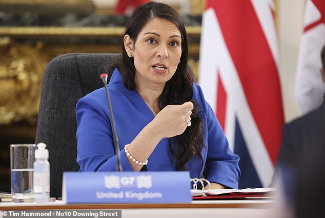 Home Secretary Priti Patel (above) has been warned by lawyers and unions her touted 'turn back' policy for migrant boats could be illegal