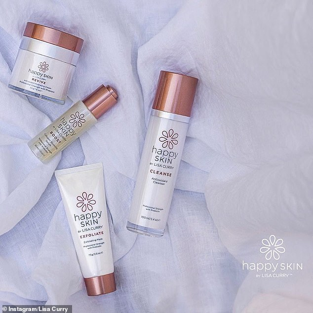 Finished product: Lisa shared a few promotional pictures of her skincare range which includes an exfoliant, cleanser, serum and moisturiser