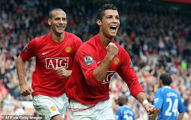 Ronaldo celebrates with Ferdinand after scoring a goal during his first spell at Man United