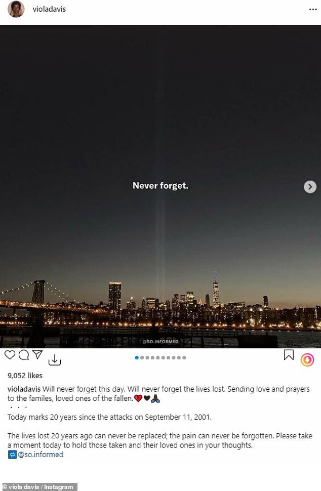 'Will never forget this day. Will never forget the lives lost,' she wrote. 'Sending love and prayers to the families, loved ones of the fallen'