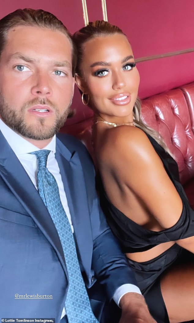 To tie the knot: Lottie Tomlinson, 23, oozing confidence in a slinky black frock with a thigh-split at a wedding with beau Lewis Burton, 29, on Saturday (both pics)