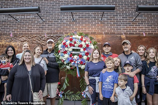 Siller's organization Tunnels to Towers foundation organized the walk (Siller pictured in a hat and gray sweater on the right with fellow walkers). The walkers started at the Pentagon before making their way through Shanksville, Pennsylvania and ending at Ground Zero