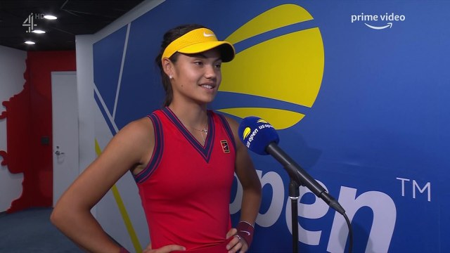 Speaking just before walking out, Raducanu said: 'It's so exciting to be in my second Grand Slam and in the final and going out there today I can't wait to just get stuck in and I'm sure it will be a positive experience'