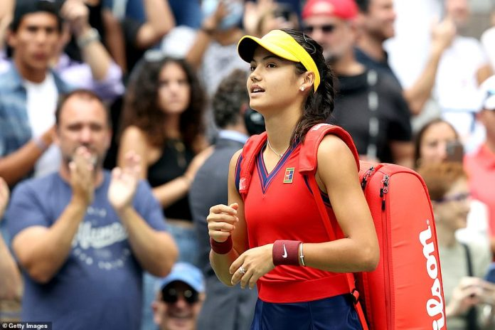 Raducanu walks out onto the court at Arthur Ashe on Saturday afternoon hoping to make it a fairytale in New York