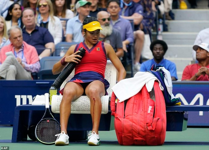 British Grand Slam winner Raducanu - Raducanu opened up her knee in the final game with the scored tied up at 40-40, prompting furious complaints from Fernandez who believed she was playing for time