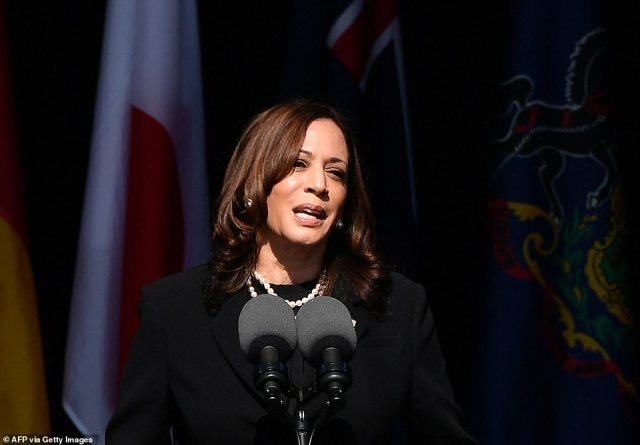 Kamala Harris called for a 'united America' Saturday as she joined former President George Bush at the 9/11 memorial ceremony in Shanksville, Pennsylvania, to mark the 20th anniversary of America's darkest day