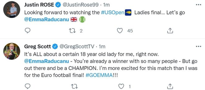 Olympic golfer Justin Rose and TV presenter and actor Greg Scott also wished Emma luck, saying she was already a winner