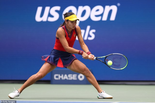 Raducanu returns a shot fromFernandez as they get underway in the US Open final