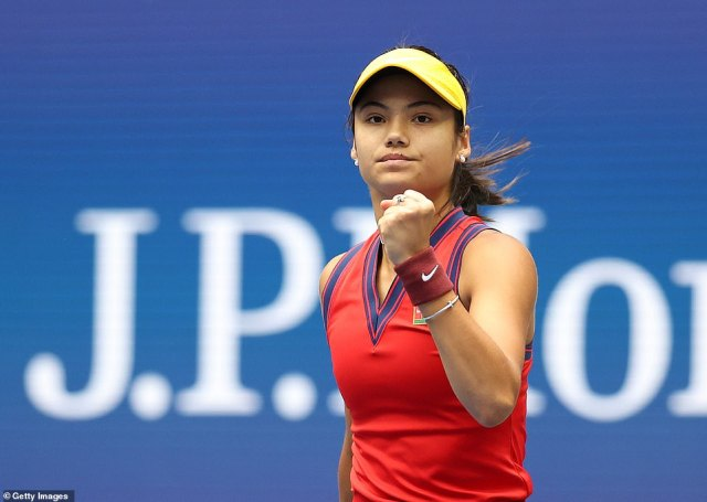 Raducanu clenches her fist after taking a point in the first set of the final of the US Open