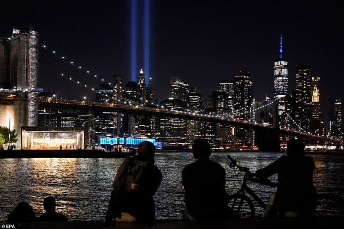 The Tribute in Light, a memorial to the victims of the 9/11 terrorist attacks, lights up the Manhattan skyline in New York