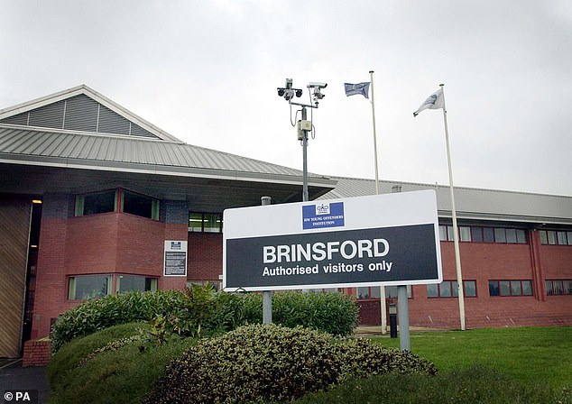 Knight, appearing on a link from HMP Brinsford in Staffordshire (pictured), turned away as the footage of attack was played to the court