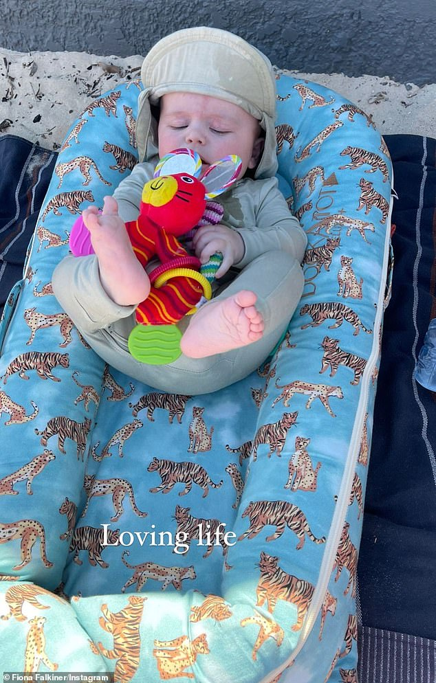 Her bundle of joy: 'Loving life,' proud mother Fiona captioned one adorable snap