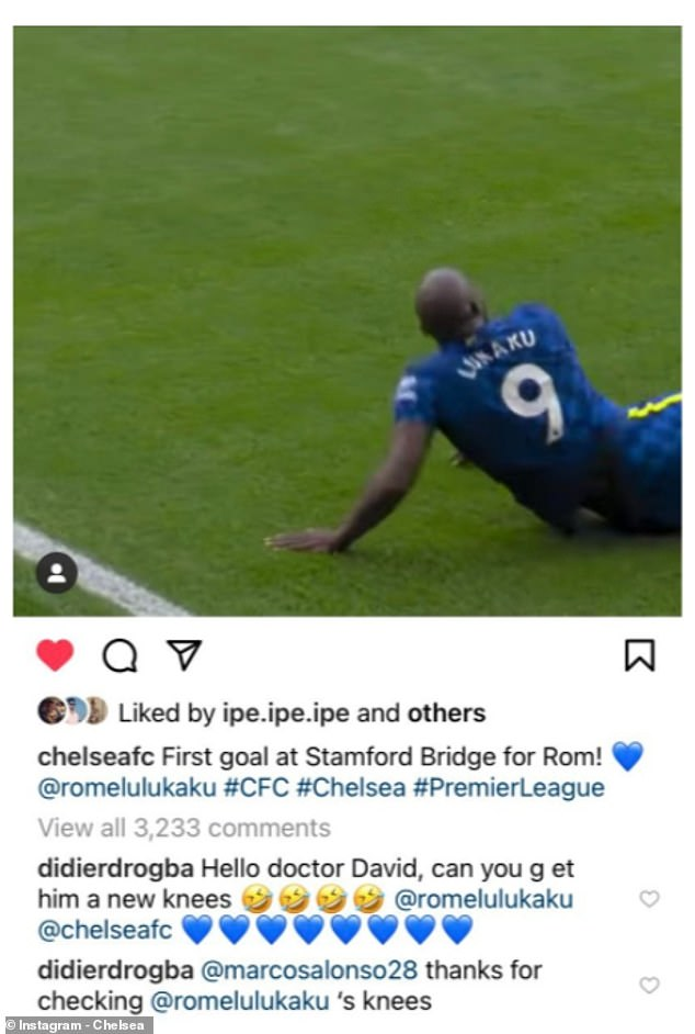 Didier Drogba was quick to react on social media to Lukaku's hilarious fall after the game