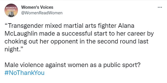 Others went so far as to say the match constituted male-on-female violence