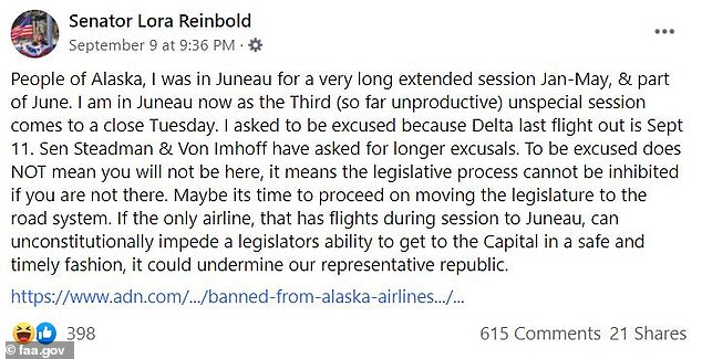 On Thursday, she blamed Alaska Airlines for 'undermining our representative republic'