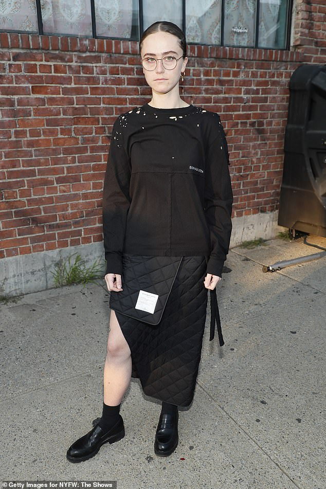 Above, Emhoff outside of the Eckhaus Latta show during New York Fashion Week on Friday